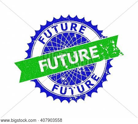 Vector Future Bicolor Stamp Seal With Corroded Surface. Blue And Green Colors. Flat Seal Stamp With