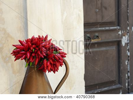 Red peppers in antique environment
