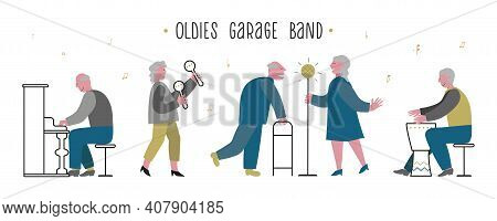 Elderlies, Seniors Sing And Play In A Band. Couple Sings With Enthusiasm. Oldies Mens Piano, Drum Pl