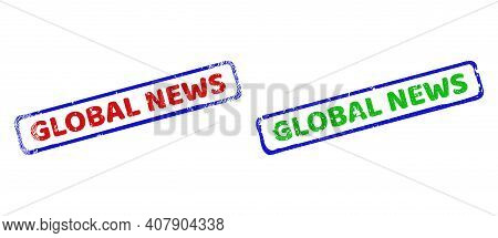 Vector Global News Framed Watermarks With Grunge Surface. Rough Bicolor Rectangle Watermarks. Red, B
