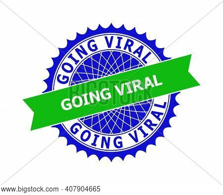 Vector Going Viral Bicolor Template For Imprints With Clean Surface. Flat Clean Seal With Going Vira