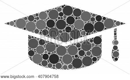 Graduation Cap Vector Composition Of Dots In Different Sizes And Color Tones. Dots Are Combined Into