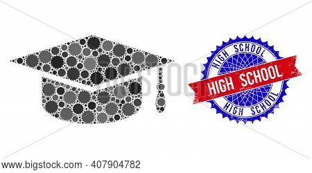 Graduation Cap Vector Composition Of Sharp Rosettes And High School Textured Stamp Seal. Bicolor Hig
