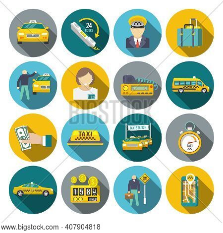 Taxi Driver Transportation Car Service Cab Man Flat Long Shadow Icons Set Isolated Vector Illustrati
