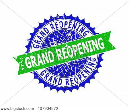 Vector Grand Reopening Bicolor Stamp Seal With Corroded Texture. Blue And Green Colors. Flat Seal Im