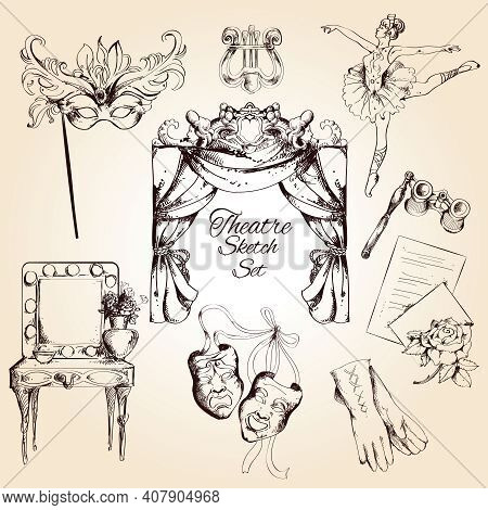 Theatre Acting Performance Entertainment Drama And Ballet Sketch Decorative Icons Set Isolated Vecto