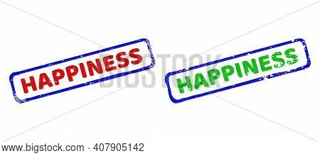 Vector Happiness Framed Imprints With Unclean Surface. Rough Bicolor Rectangle Seal Stamps. Red, Blu