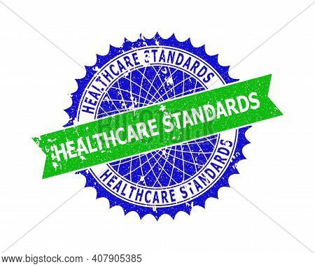 Vector Healthcare Standards Bicolor Seal With Distress Texture. Blue And Green Colors. Flat Seal Imp