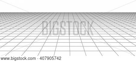 Abstract Wireframe Landscape. Vector Perspective Grid On White Background. Vector Illustration.