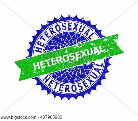 Vector Heterosexual Bicolor Stamp With Rubber Surface. Blue And Green Colors. Flat Seal Stamp With H