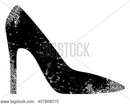 High Heel Lady Shoe Icon With Scratched Style. Isolated Vector High Heel Lady Shoe Icon Image With D