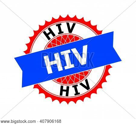 Vector Hiv Bicolor Template For Watermarks With Clean Surface. Flat Simple Seal Stamp With Hiv Title
