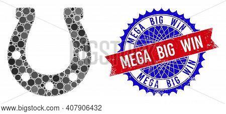Horseshoe Vector Collage Of Sharp Rosettes And Mega Big Win Unclean Seal. Bicolor Mega Big Win Seal