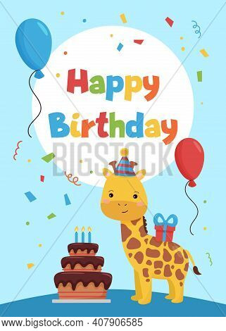 Cards Template For Birthday Party Invitations And Greeting Cards. Cute Cartoon Giraffe With Cake, Ba