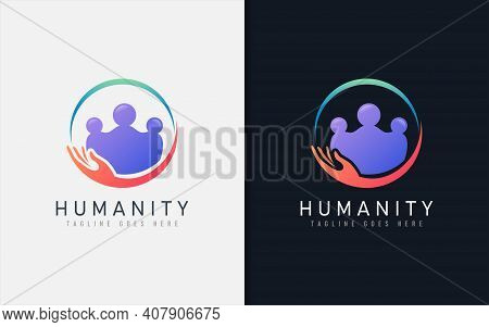 Humanity Logo Design. People Group In Circle Shape Combination With Holding Hand. Vector Logo Illust