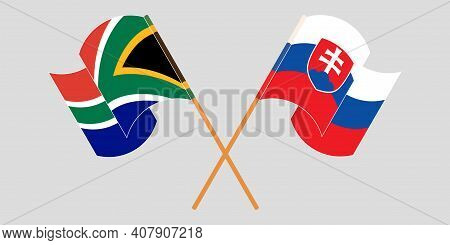 Crossed And Waving Flags Of Slovakia And South Africa. Vector Illustration