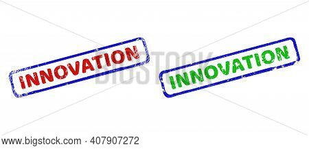 Vector Innovation Framed Watermarks With Grunge Texture. Rough Bicolor Rectangle Seals. Red, Blue, G
