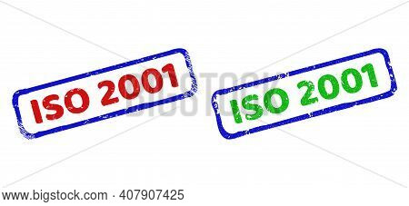 Vector Iso 2001 Framed Watermarks With Scratched Surface. Rough Bicolor Rectangle Stamps. Red, Blue,