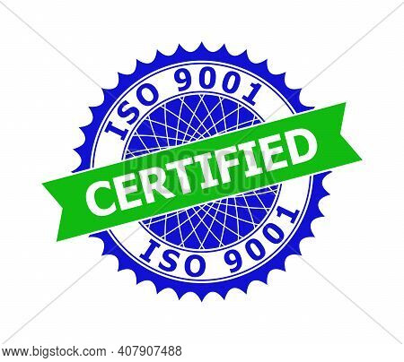 Vector Iso 9001 Certified Bicolor Template For Watermarks With Clean Surface. Flat Clean Seal Templa