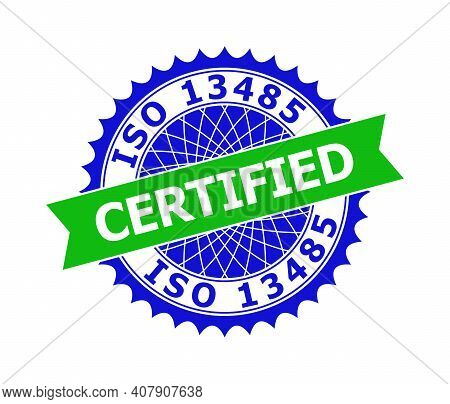 Vector Iso 13485 Certified Bicolor Template For Watermarks With Clean Surface. Flat Clean Seal Templ
