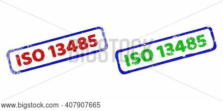 Vector Iso 13485 Framed Imprints With Grunged Surface. Rough Bicolor Rectangle Seal Stamps. Red, Blu