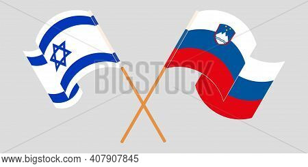 Crossed And Waving Flags Of Slovenia And Israel. Vector Illustration