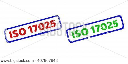 Vector Iso 17025 Framed Imprints With Unclean Surface. Rough Bicolor Rectangle Seal Stamps. Red, Blu