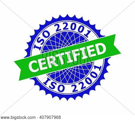 Vector Iso 22001 Certified Bicolor Template For Watermarks With Clean Surface. Flat Clean Seal Stamp