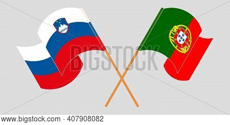 Crossed And Waving Flags Of Slovenia And Portugal. Vector Illustration