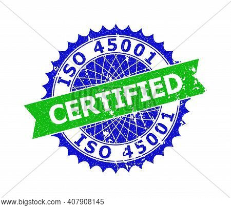 Vector Iso 45001 Certified Bicolor Stamp Seal With Rubber Surface. Blue And Green Colors. Flat Seal