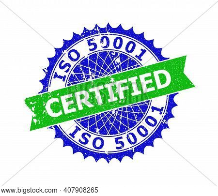 Vector Iso 50001 Certified Bicolor Stamp Seal With Rubber Texture. Blue And Green Colors. Flat Seal