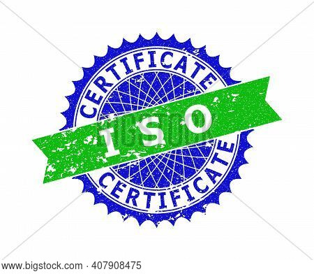 Vector Iso Certificate Bicolor Stamp Seal With Rough Style. Blue And Green Colors. Flat Seal Stamp W