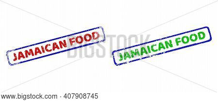 Vector Jamaican Food Framed Imprints With Distress Texture. Rough Bicolor Rectangle Stamps. Red, Blu
