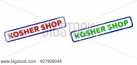 Vector Kosher Shop Framed Imprints With Corroded Texture. Rough Bicolor Rectangle Stamps. Red, Blue,