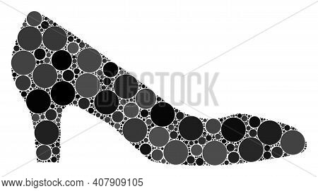 Lady Shoe Vector Collage Of Small Circles In Various Sizes And Color Tinges. Small Circles Are Organ