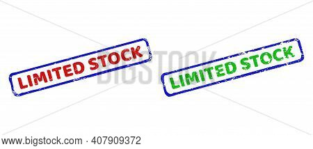 Vector Limited Stock Framed Watermarks With Unclean Style. Rough Bicolor Rectangle Stamps. Red, Blue