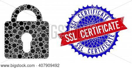 Lock Vector Composition Of Sharp Rosettes And Ssl Certificate Dirty Stamp Seal. Bicolor Ssl Certific