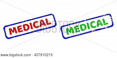 Vector Medical Framed Watermarks With Scratched Texture. Rough Bicolor Rectangle Watermarks. Red, Bl