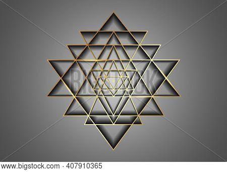 Sri Yantra, Gold Sacred Geometry, Symbol Of Hindu Tantra Formed By Nine Interlocking Triangles That