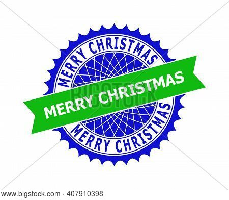 Vector Merry Christmas Bicolor Template For Rubber Imitations With Clean Surface. Flat Clean Seal St