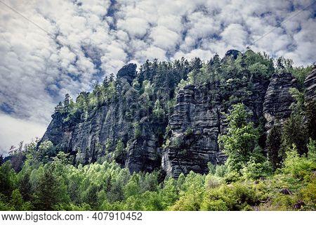 Rock Formation On Hiking Trail In Eblsandsteingebirge In Saxon Switzerland