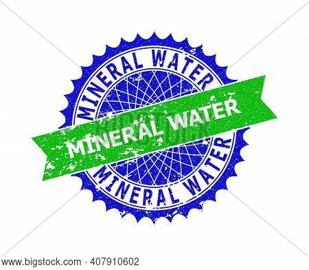 Vector Mineral Water Bicolor Stamp With Corroded Style. Blue And Green Colors. Flat Stamp With Miner
