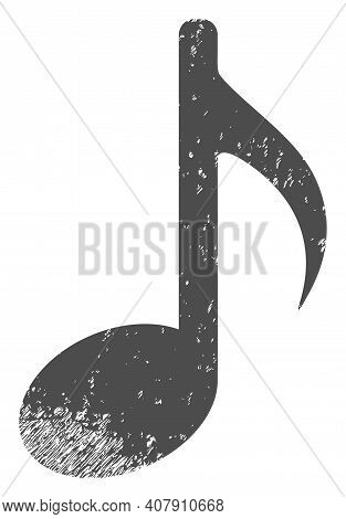 Music Note Icon With Scratched Style. Isolated Vector Music Note Icon Image With Scratched Rubber Te
