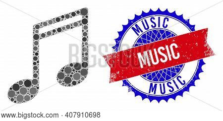 Music Notes Vector Composition Of Sharp Rosettes And Music Grunge Stamp. Bicolor Music Stamp Uses Ro