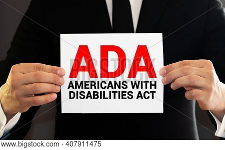 Paper With Americans With Disabilities Act Ada On A Table.