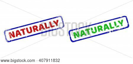 Vector Naturally Framed Watermarks With Scratched Surface. Rough Bicolor Rectangle Seals. Red, Blue,