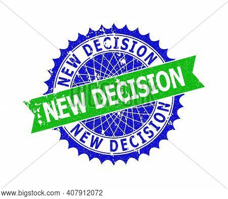 Vector New Decision Bicolor Stamp With Grunge Surface. Blue And Green Colors. Flat Seal Stamp With N