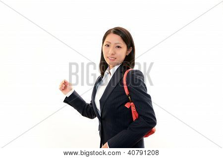 Lovely young woman with shoulder bag