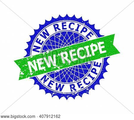 Vector New Recipe Bicolor Stamp With Grunged Texture. Blue And Green Colors. Flat Stamp With New Rec