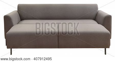 Sofa Isolated On White Background. Including Clipping Path. The Sofa Is Laid Out For Sleep.
